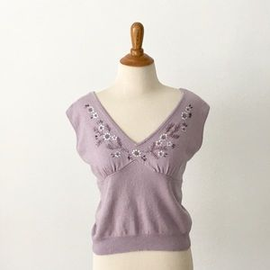 Silk/Cashmere/Angora Blend Top w/ Elegant Back